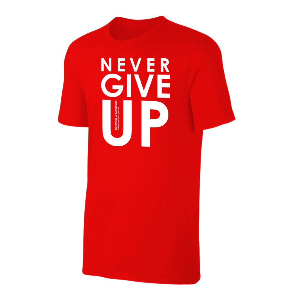 Never Give Up Liverpool FC 2019 Champions League Red Text Mens Black T-Shirt