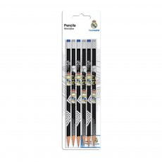Real Madrid pencils with eraser 6pcs, black