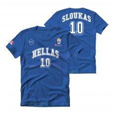 Greece NT basketball 2019 t-shirt HOTEL SLOUKAS GSA, blue