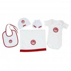 Olympiakos baby gift set 5pcs, white