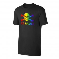 St. Pauli 'Skull & Crossbones - Rainbow' t-shirt, black