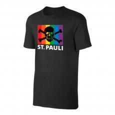 St. Pauli 'Skull & Crossbones - Rainbow Flag' t-shirt, black