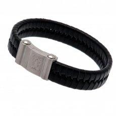 Aston Villa F.C. Single Plait Leather Bracelet