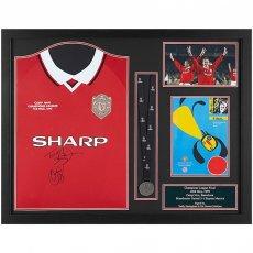 Manchester United FC Sheringham & Solskjaer Signed Shirt Medal (Framed)