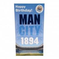 Manchester City F.C. Birthday Card & Badge EST